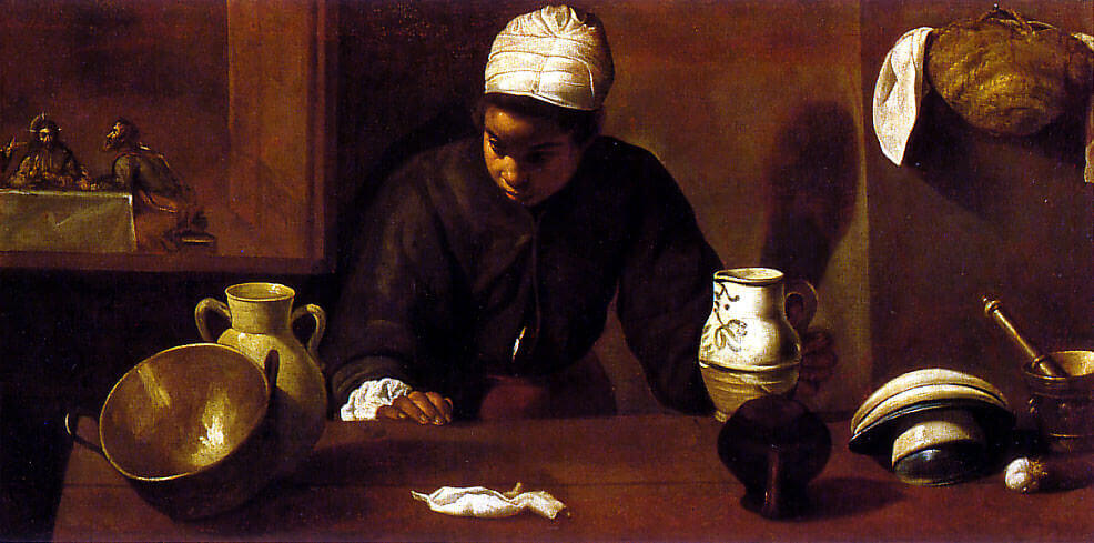 Kitchen Maid with the Supper at Emmaus, 1617 by Diego Velazquez